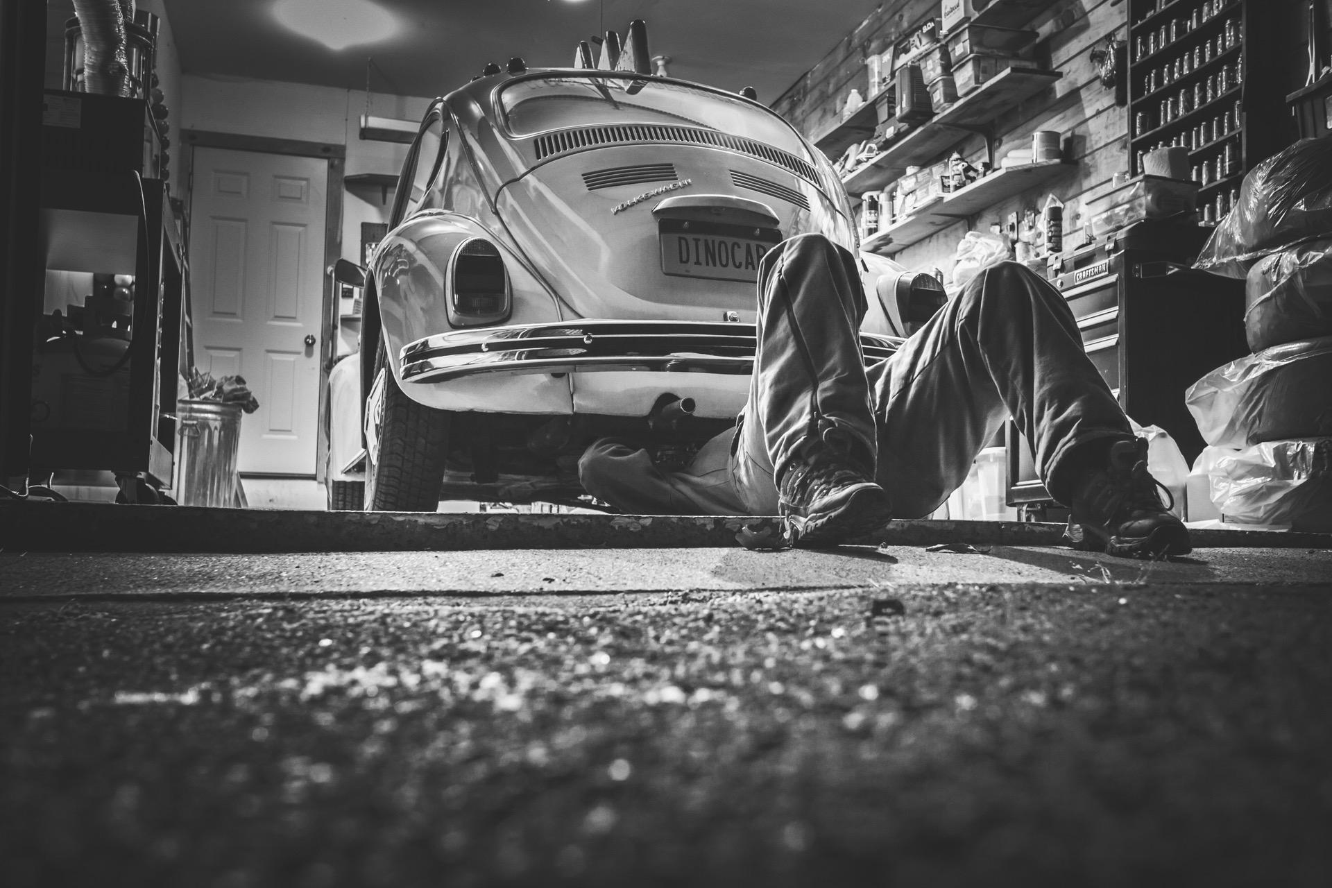 Black and white car vehicle vintage